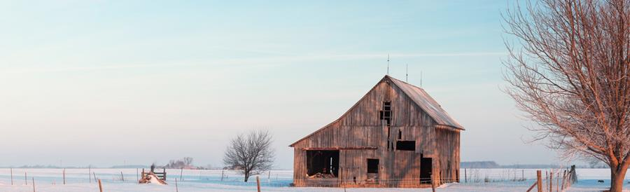 Winter light and barn in snow